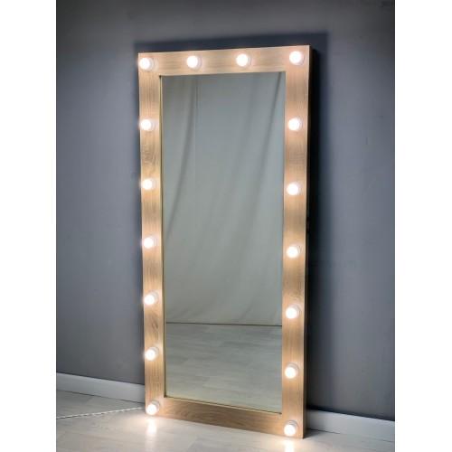 Зеркало для гримерки и шоу-рума с подсветкой 175х80 дуб лдсп премиум