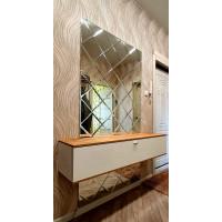 Треугольная зеркальная плитка графит 150х150 мм